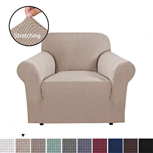 1 Sitzer Schonbezug, Easy Stretch Elastic Fabric Sofa Protector Belegabdeckung Waschbar für Wohnzimmer und Schlafzimmer Farbe Sand