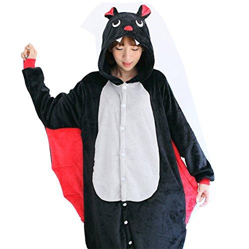 Costume halloween costume cosplay con cappuccio Pigiama adulto Pigiama animali pipistrello Come mostrato