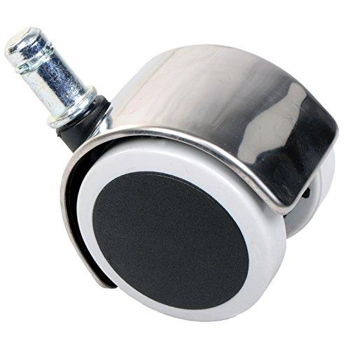GIOSEDIO Satz Stuhlrollen Chrom 50 mm Klemmstift 11 mm ohne Bremse mit PU-Bereifung spurlos für harte Böden Hartbodenrolle