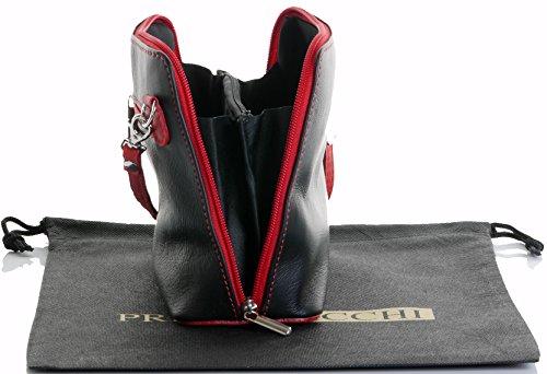 Italiano in morbida pelle, piccole/Micro croce corpo borsa o borsetta borsa a tracolla.Include una custodia protettiva. Nero & rosso