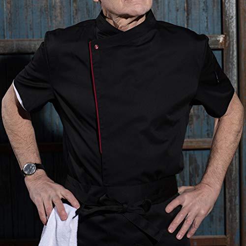 Dexinx Männer Chefs Elegante Jacke Mantel Hotel Küche Uniform Kurzarm Food Service Koch Arbeitskleidung Schwarz L - 2