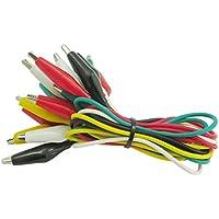 InisIE Clips Cleqee P1025 10pcs cocodrilo eléctrico de bricolaje Cables de prueba de composición doble cocodrilo cable de prueba Jumper