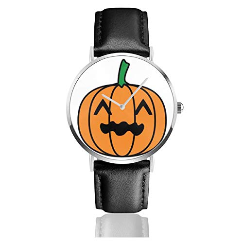 Business Analog Watches,Happy Halloween Pumpkin Character Classic Stainless Steel Quartz Waterproof Wrist Watch with Leather Strap