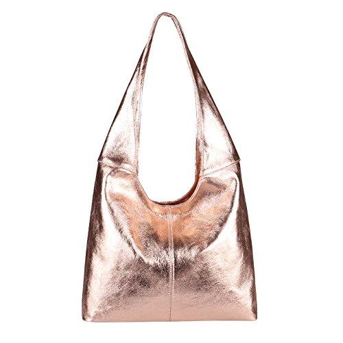 102b2c3f8c994 OBC MADE IN ITALY DAMEN LEDER HAND-TASCHE METALLIC Shopper Schultertasche  Hobo-Bag Henkeltasche