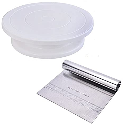 SNNplapla Cake Decorating Supplies Including Cake Turntable Stand Stainless Steel Cake Scraper Pizza Dough Scraper Pastry Cutter with Measuring