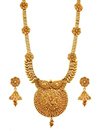 Jfl - Jewellery For Less Traditional And Ethnic One Gram Gold Plated Long Necklace Set With Earring For Women.
