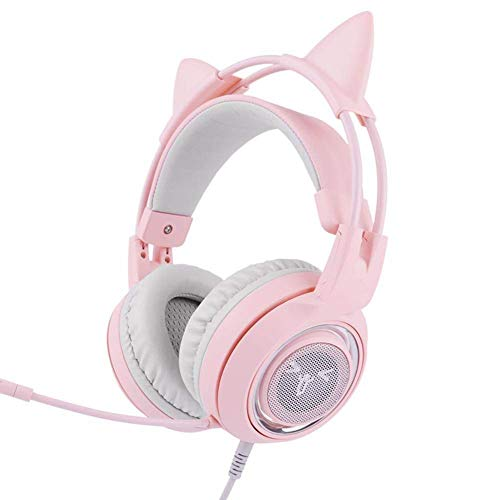 RQINW G951 Pink Gaming Headset, LED-Licht, Pink Cat Ear-Kopfhörer mit virtuellem 7.1-Surround-Sound, Spiel-Headset für PS4 Xbox One PC und Freundin/Frauen (USB-Buchse) - 7.1-surround-sound