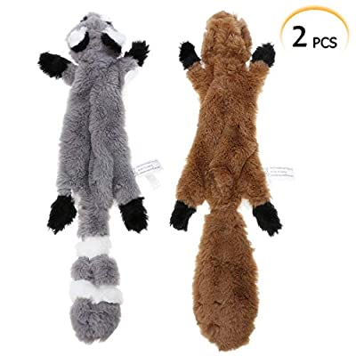 No Stuffing Dog Toy, 2 Pack Squirrel Raccoon Squeaky Plush Dog Toy, Stuffingless Dog Chew Toy for Small Medium Dogs - 42cm by PDTO