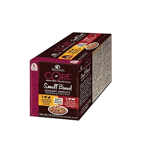 Wellness CORE Small Breed Savoury Medleys, Hundefutter nass getreidefrei für kleine Rassen, hoher Fleischanteil, Butcher Selection Mix, 6 x 85 g Schalen