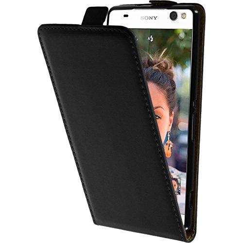 PhoneNatic Kunst-Lederhülle kompatibel mit Sony Xperia C5 Ultra - Flip-Case schwarz + 2 Schutzfolien