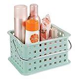 InterDesign Basic corbeille rangement, petit panier salle de bain en plastique pour accessoires de douche et soins, vert menthe