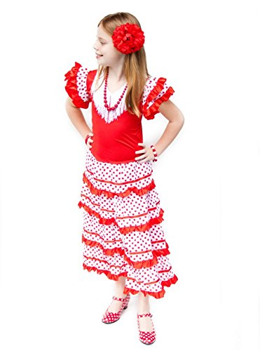 Senorita Kostüm Tänzerin Flamenco Spanische - La Senorita Spanische Flamenco Kleid / Kostüm - für Mädchen / Kinder - Rot / Weiß - Größe 152-158 - Länge 105 cm - für 10-11 Jahr