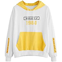 Sudadera con capucha para mujer Manga larga Letra Imprimir Bolsillo Tops Blusa camisa de las mujeres LMMVP (S, Amarillo)