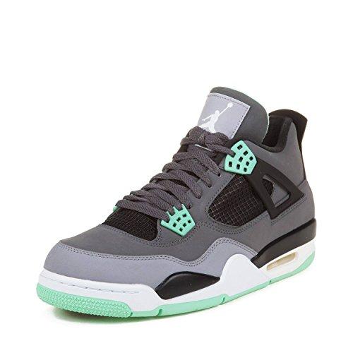 Jordan Nike Air 4Retro 'Green Glow' Dark Grey/Green Black Trainer, Grau - grau - Größe: 44,5 (Air Glow Green Nike Jordan)