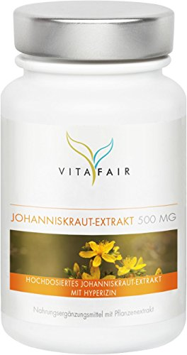 Johanniskraut Extrakt - 500mg pro Tagesdosis - 100 Kapseln - 0,3{8384878edc95069a51fb4dab321259b6a40d4ae3cdc57d7945e87ce7782f40d1} Hyperizin = 1,5 mg - Vegan - Ohne Magnesiumstearat - Made in Germany