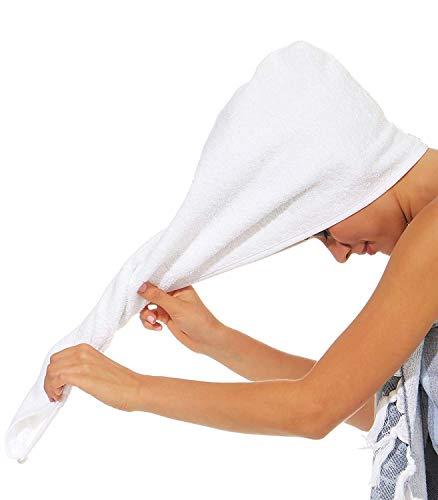 NATURA WALK Handtuch für Haare Haarturban aus BIO -Baumwolle Farbe Weiss, Grösse Turban Haar-turban