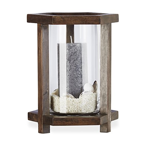 Relaxdays Farol portavelas de Madera Hexagonal jarrón de Cristal para Velas Grandes Centro H 26,5cm, marrón Oscuro, Estándar