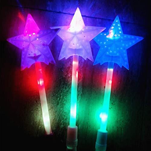 GeKLok LED Blinkender Stern Zauberstab Lichter Glow Sticks Party Konzert Rep Weihnachten Spielzeug, Wie abgebildet, 1 Stpck