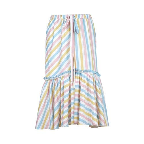 XGDLYQ Multicolor Print Casual Sommer Rock Striped Rainbow Womens Röcke hohe Taille weibliche Rüschen Langen Rock Mode gestreift - Multi Color Print-rock