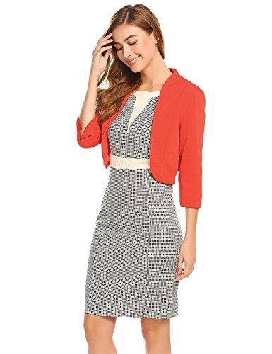 cb7ca17494139c Meaneor Damenjacke Elegant Mode Kragenlos Kurz Blazer Jacke Bolero mit 3 4  Ärmel Orange Rot