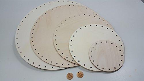 Unbekannt 3 Peddigrohr Böden 9 cm rund, mit Handmade Holzlabel