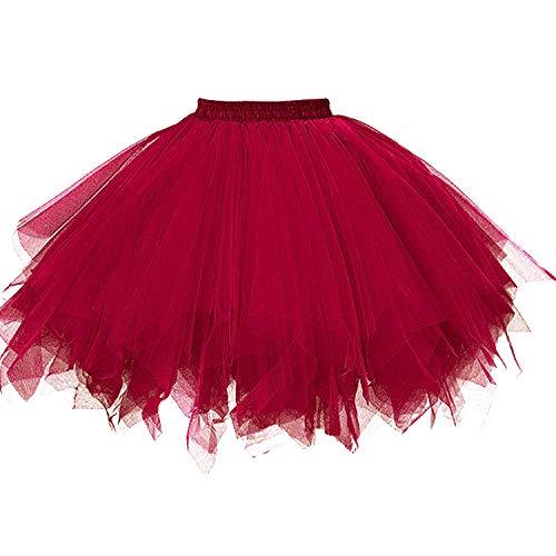DresseverBrand Damen Petticoat 50er Rockabilly Jahre Retro Tutu Ballet Tüllrock Cosplay Crinoline Burgundy Small/Medium