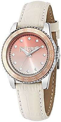 De la puesta del sol de Just Cavalli es una de las mujeres reloj de pulsera de cuarzo con esfera analógica y correa de piel color blanco R7251202507