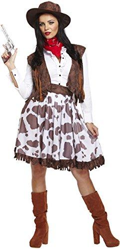 Ladies Erwachsener Cowgirl Cowboy und Indianer Kostüm Outfit mit Hut (Womens Cowgirl Kostüme)