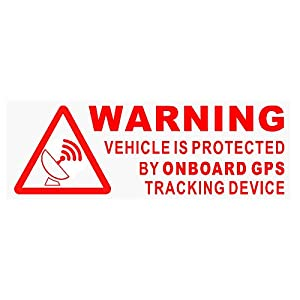 cctv y alarmas: 5 x Warning On Board GPS dispositivo de seguimiento stickers-red/clear-car, Van,...