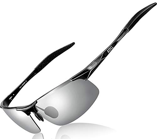 608a24956b16f ATTCL Men s Driving Polarized Sunglasses for Men Unbreakable Metal Frame  8177 Black-Silver