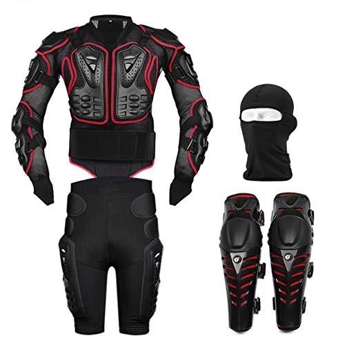 Motorradjacke Körperschutz Schutzausrüstung + Shorts Hosen Hüftprotektor + Motocross Knieschützer + Gesichtsmaske Set Anzug Red L -