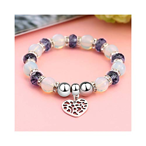 Awertaweyt Armband aus Glasperlen, Romantic Vintage Bracelets for Women Heart Pendant Bracelets with Bling Crystal Beads Fit Pan Bracelets Jewelry SL1271 -