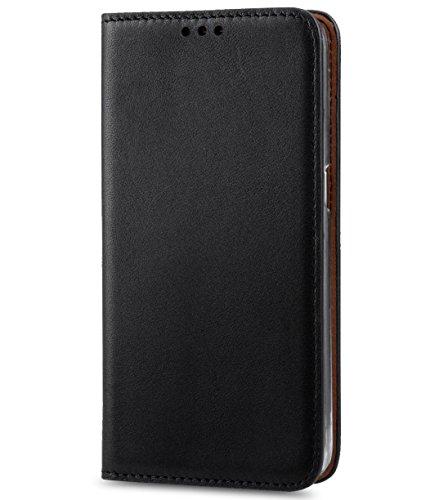 Apple Iphone 7 Melkco Cuir de vachette Premium Herman Series Housse de style livre avec cuir de qualité supérieure Fabriqué à la main Bonne protection, Premium Feel-Orange Brown Italian Black/Italian Black 1