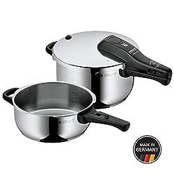 WMF Perfect Schnellkochtopf Set, 2-teilig, 4,5l und 3,0l, Cromargan Edelstahl poliert, 2 Kochstufen, Einhand-Kochstufenregler, Induktion