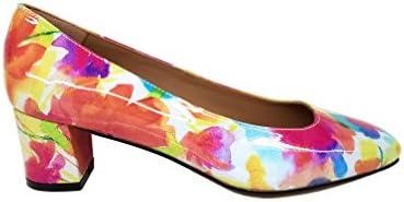 Gennia Lena - Zapatos de Piel para Mujer Tacón 5 cm con Punta Cuadrada Cerrada