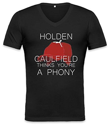holden-caulfield-thinks-youre-a-phony-unisex-v-neck-t-shirt-medium