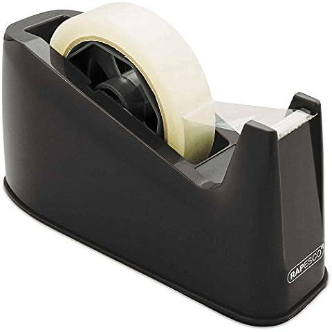 Rapesco RPTD500B - Dispensador de cinta adhesiva transparente grande, color negro