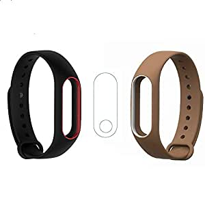 Veronic Verox Combo Pack of Dual Colour Strap with Screen Protector Wristband for Xiaomi Mi Band 2 and Mi Band HRX (Black Red and Brown White)
