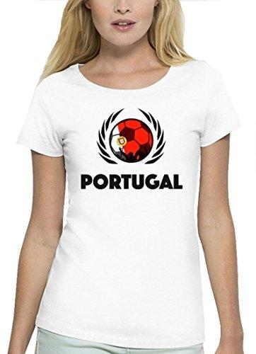ShirtStreet Wappen Fussball WM Premium Fanfest Damen T-Shirt Bio Baumwolle Stanley Stella Fußball Portugal White
