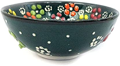 Turkceramics New Relief Ceramic Bowl (7 cm x 7 cm x 3 cm, Dark Green)