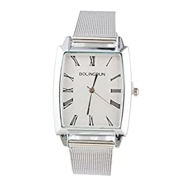 Souarts Womens Silver Color Mesh Belt Band Roman Numerals Quartz Analog Wrist Watch 24cm