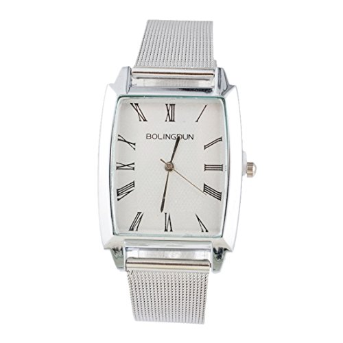 - 41FfiNY20kL - Souarts Womens Silver Color Mesh Belt Band Roman Numerals Quartz Analog Wrist Watch 24cm