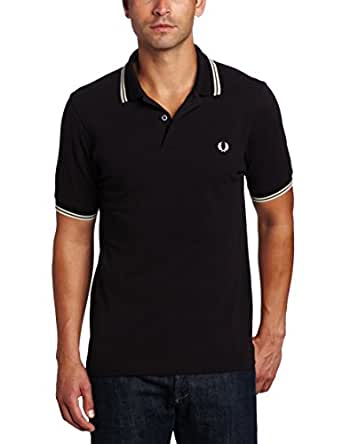 Fred Perry Twin Tipped Shirt Kingfisher Saisonfarbe HW13, Schwarz (Black), XS