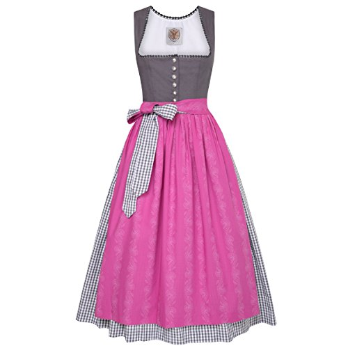 Langes Dirndl Käthe in Grau von Apple of my Eye Grau