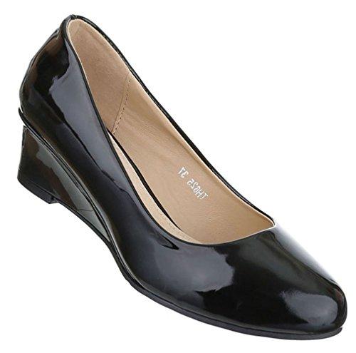 Damen Pumps Schuhe Keil Wedge Schwarz Beige Weiß 36 37 38 39 40 41 Schwarz