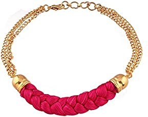I Jewels Gold Plated Bracelet Rakhi for Men (Pink, R624)