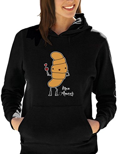 Mon amour - croissant parisiens amoureux Sweatshirt Capuche Femme Noir