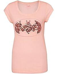Sublevel Damen T-Shirt mit Pailetten und Batman Logo   Frauen Comic Shirts kurz mit Rundhals Ausschnitt   Logo Print