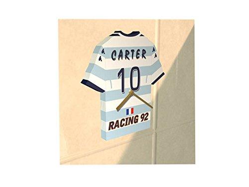 Ligue Nationale de Rugby - Horloge murale en forme de T-shirt de rugby au couleur de votre équipe préférée!!! Personnalisation gratuite: n'importe quel nom, numéro, équipe!! (Racing 92)