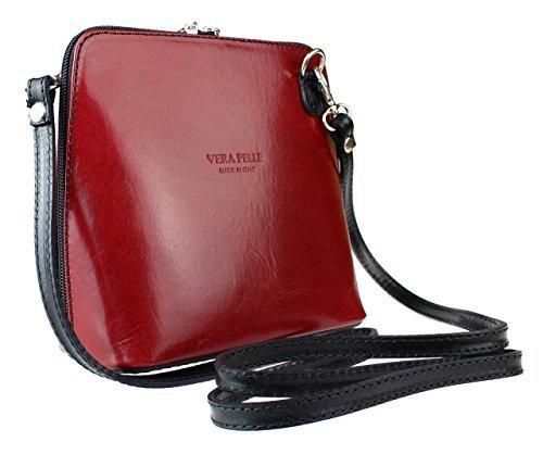 H&G Vera Pelle Trapezoid Shaped Mini Italian Real Leather Cross-Body Handbag (Purple) Red & Black